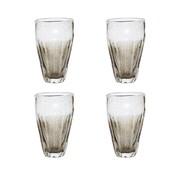 Hubsch drinkglas met groeven - grijs glas met belletjes - ø6 x 14 cm - set van 4