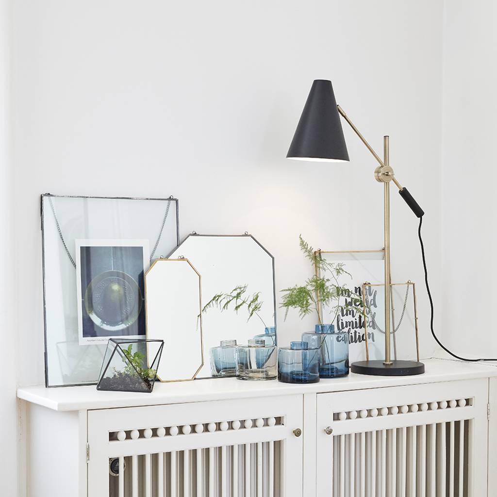 Hubsch tafellamp / bureaulamp - zwart/wit metaal en goud messing - E14/40W - 63 x 22 x 70 cm