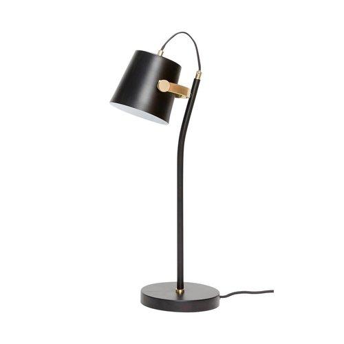 Hubsch tafellamp - zwart/goud metaal - E14/40W - 18 x 26 x 58 cm