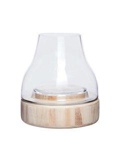 Hubsch windlicht/vaas - hout en glas - ø23 x 26 cm