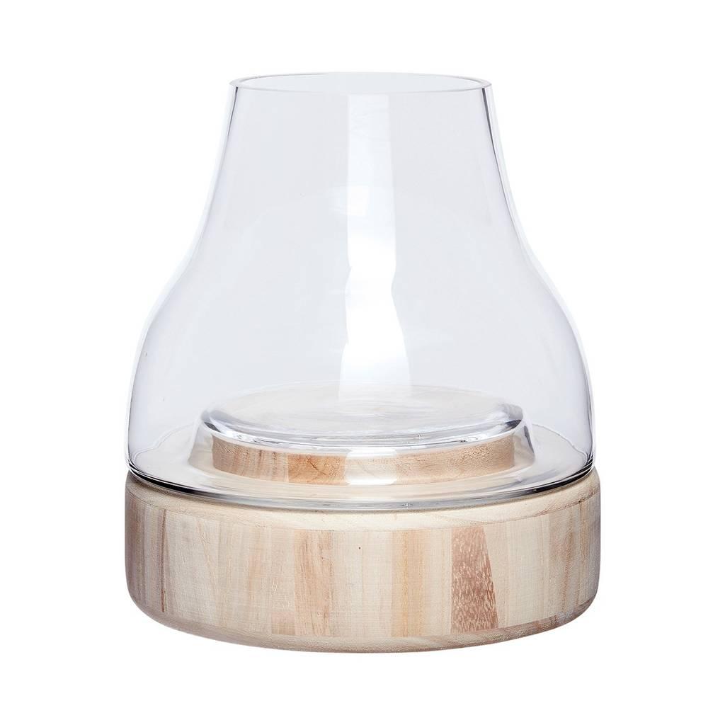 Hubsch windlicht/vaas - hout en glas - ø23 x 26 cm-460308-5712772054598