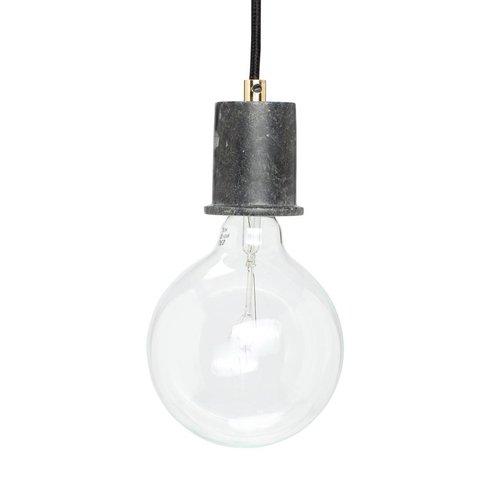 Hubsch hanglamp/fitting met snoer - zwart marmer en goud - E27/60W - ø5 x 7 cm
