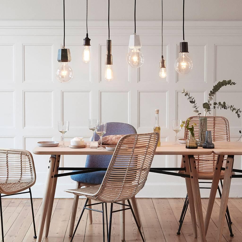 Hubsch hanglamp/fitting met snoer - zwart marmer en goud - E27/60W - ø5 x 7 cm-510221-5712772052617