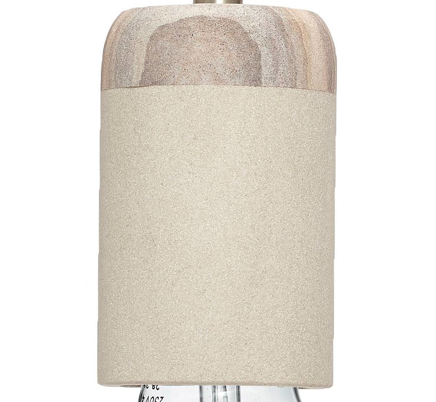 hanglamp/fitting met snoer - grijs zandsteen en hout - E27/60W - ø7 x 11 cm