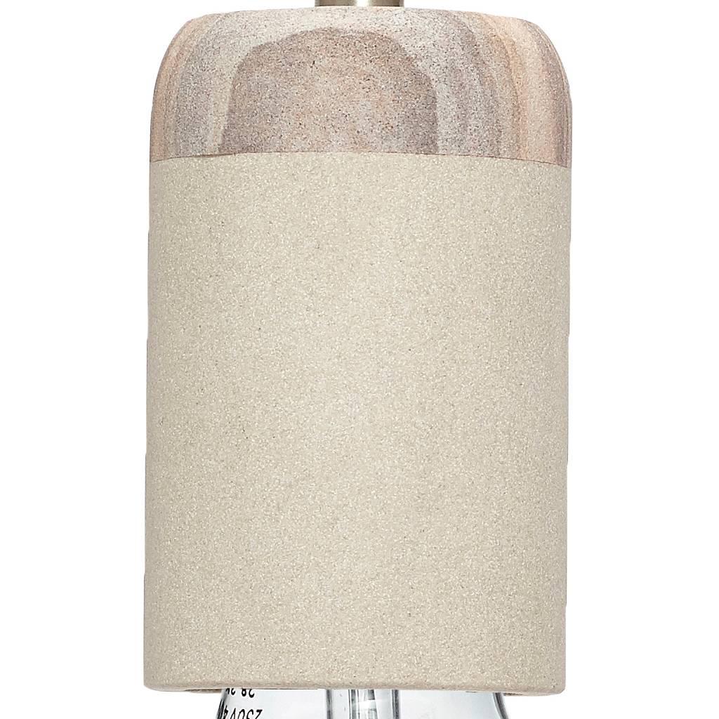 Hubsch hanglamp/fitting met snoer - grijs zandsteen en hout - E27/60W - ø7 x 11 cm-519006-5712772042540