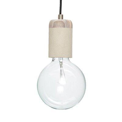 Hubsch hanglamp/fitting met snoer - grijs zandsteen en hout - E27/60W - ø7 x 11 cm. Hubsch 61995458