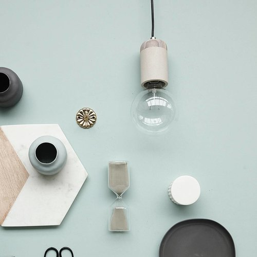 Hubsch hanglamp/fitting met snoer - grijs zandsteen en hout - E27/60W - ø7 x 11 cm