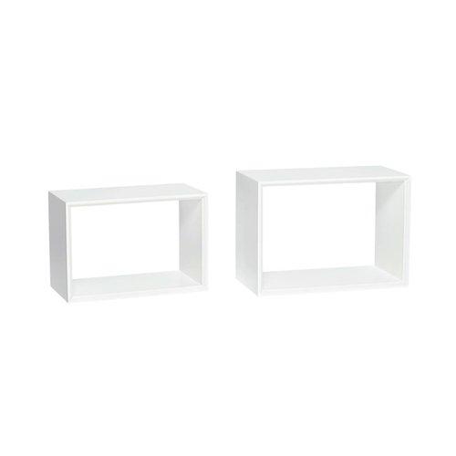 Hubsch wandrek/boekenrek - wit MDF hout - 38 x 20 x 26 en 42 x 23 x 30 cm - set van 2