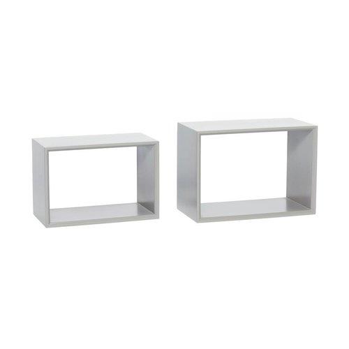 Hubsch wandrek/boekenrek - grijs MDF hout - 38 x 20 x 26 en 42 x 23 x 30 cm - set van 2