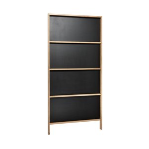 Hubsch krijtbord staand wandmodel - bruin/zwart eikenhout - 90 x 6 x 190 cm