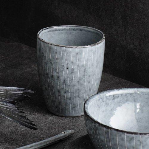 Broste Copenhagen beker/mok Nordic Sea - blauw/wit aardewerk - 250 ml - set van 4