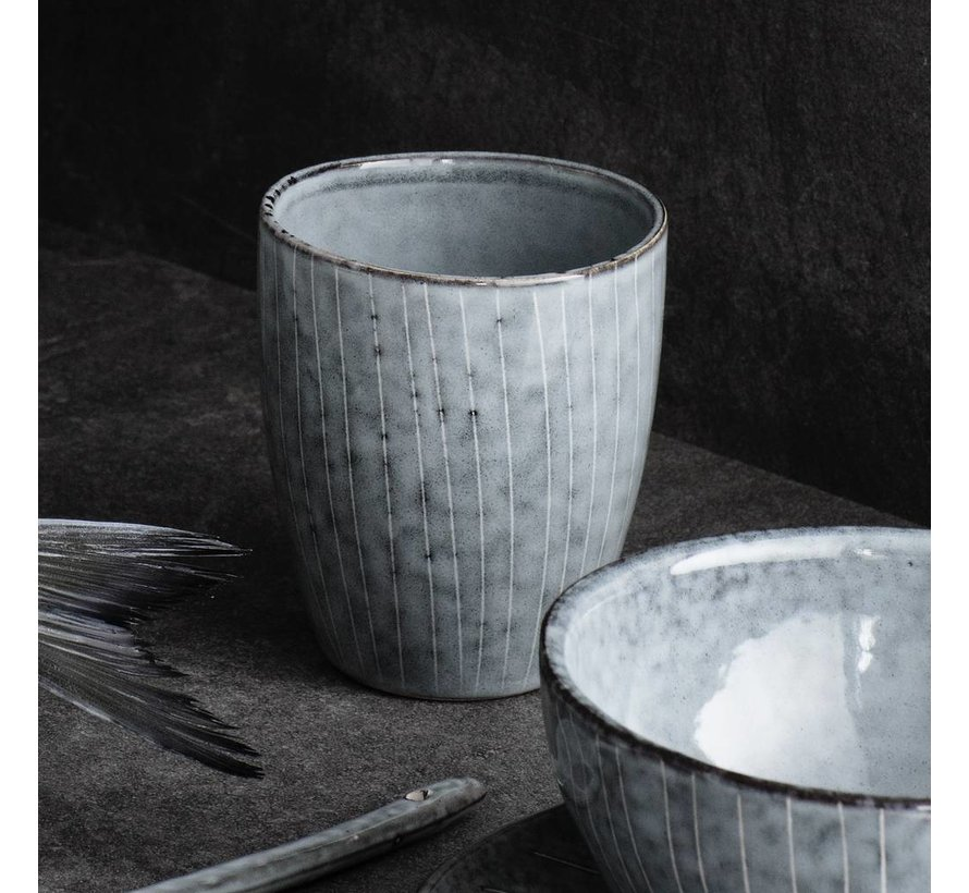 beker/mok Nordic Sea - blauw/wit aardewerk - 250 ml - set van 4