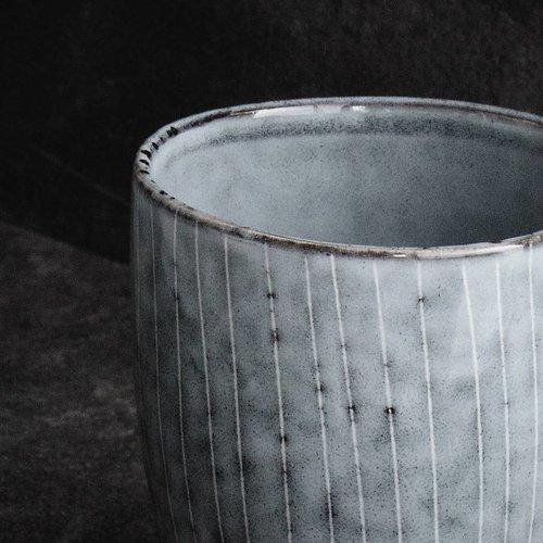 Broste Copenhagen beker Nordic Sea espresso - blauw/wit aardewerk - 100 ml - set van 4