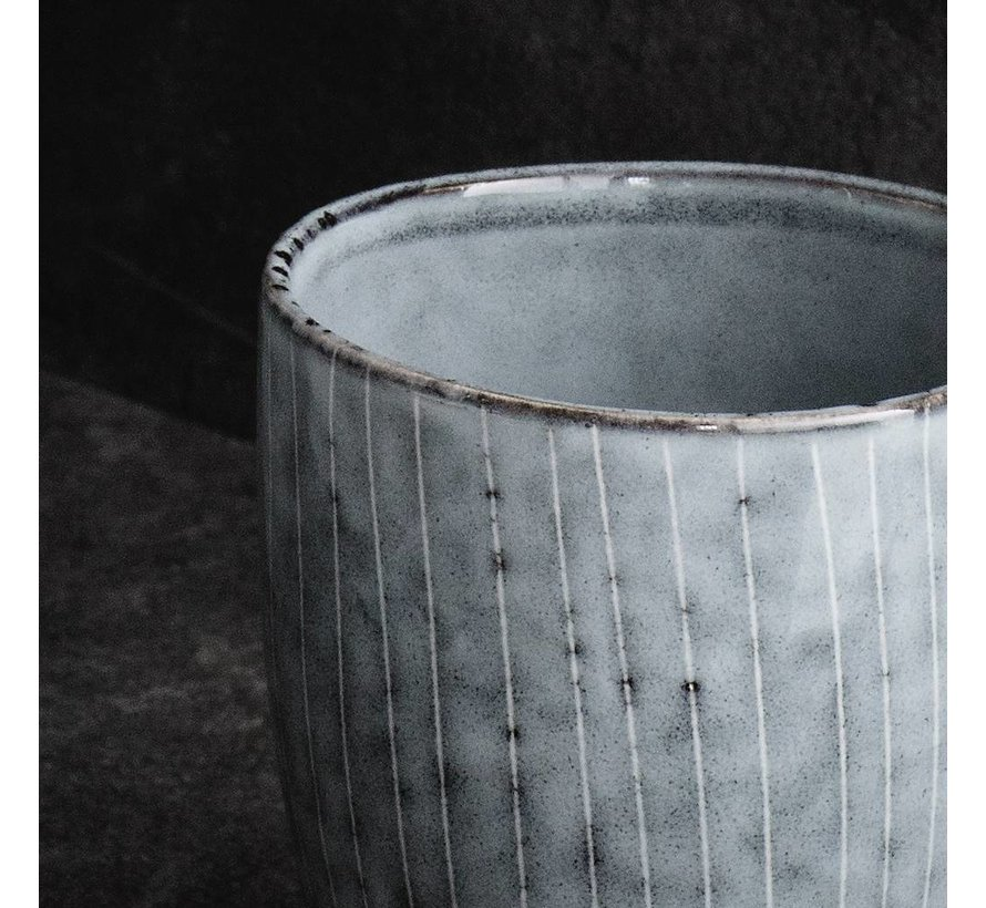 beker Nordic Sea espresso - blauw/wit aardewerk - 100 ml - set van 4