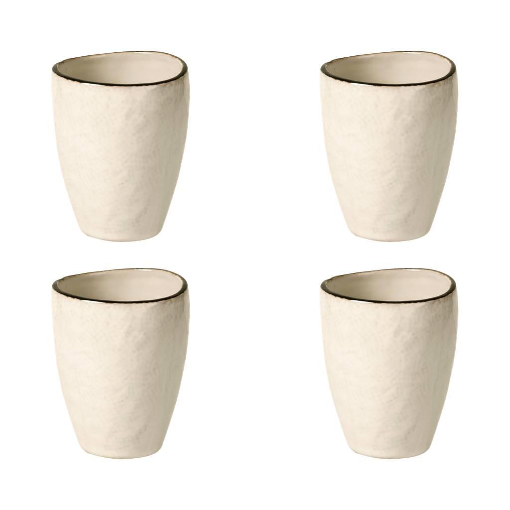 Broste Copenhagen beker/mok Hessian - crème/bruin aardewerk - 250 ml - set van 4