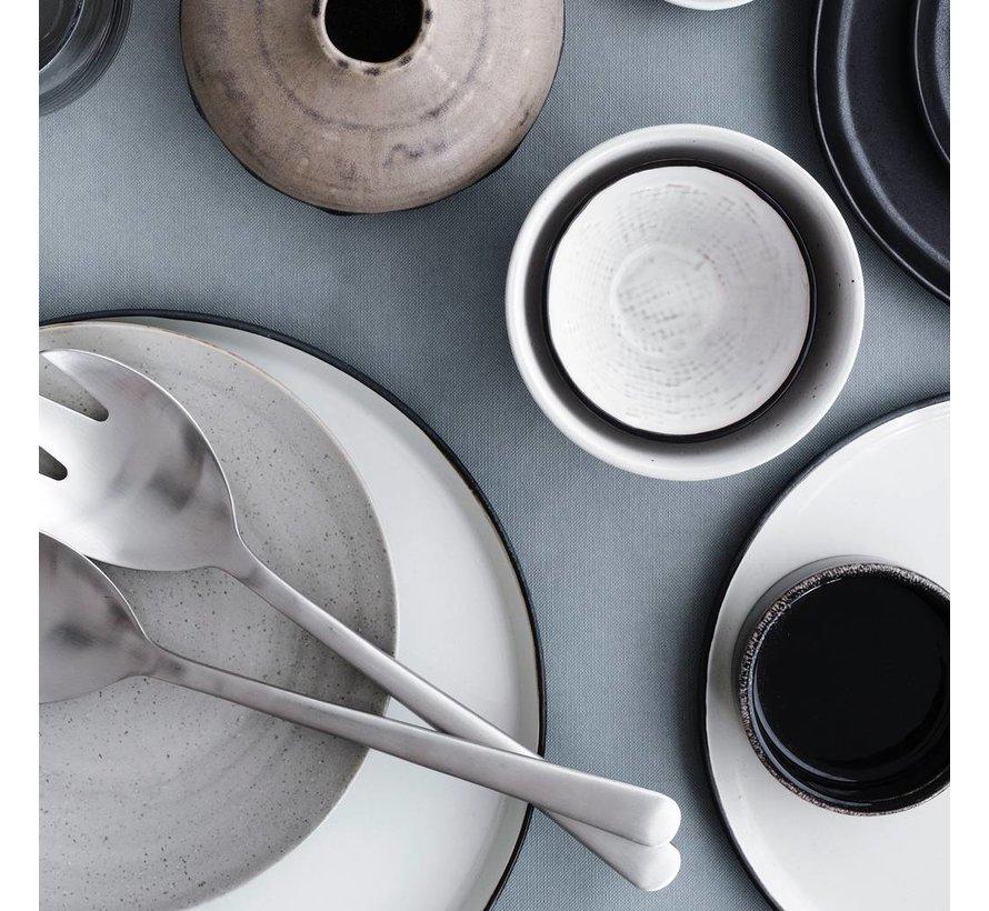 beker/mok Hessian - crème/bruin aardewerk - 250 ml - set van 4