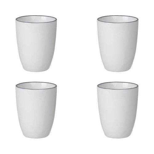 Broste Copenhagen beker Salt espresso - wit/zwart porselein - 100 ml - set van 4