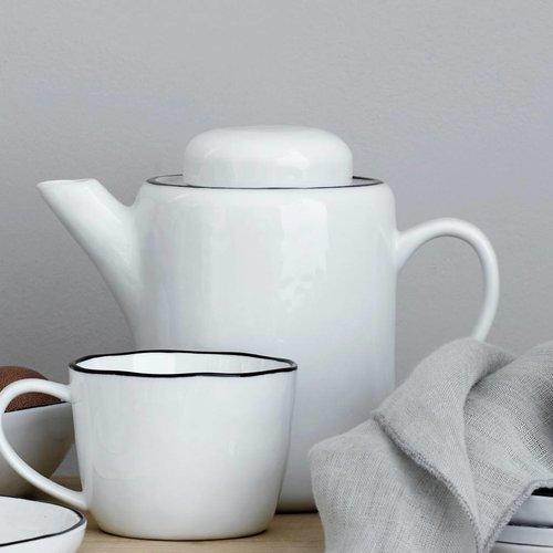 Broste Copenhagen theepot Salt - wit/zwart porselein - 1,3 L