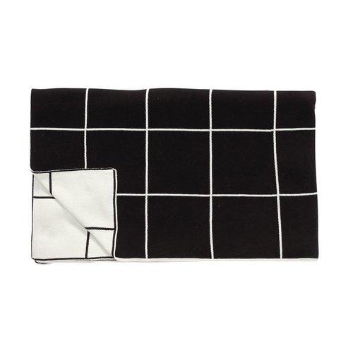 Hubsch plaid met patroon - zwart/wit katoen - 130 x 200 cm