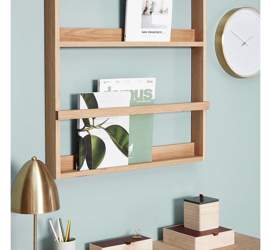 magazinerek/tijdschriftenhouder - naturel eikenhout - 70 x 9 x 92 cm
