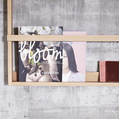 Hubsch magazinerek/tijdschriftenhouder - naturel eikenhout - 70 x 9 x 92 cm