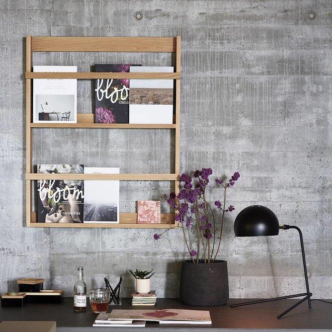 Hubsch magazinerek/tijdschriftenhouder - naturel eikenhout - 70 x 9 x 92 cm - 880408
