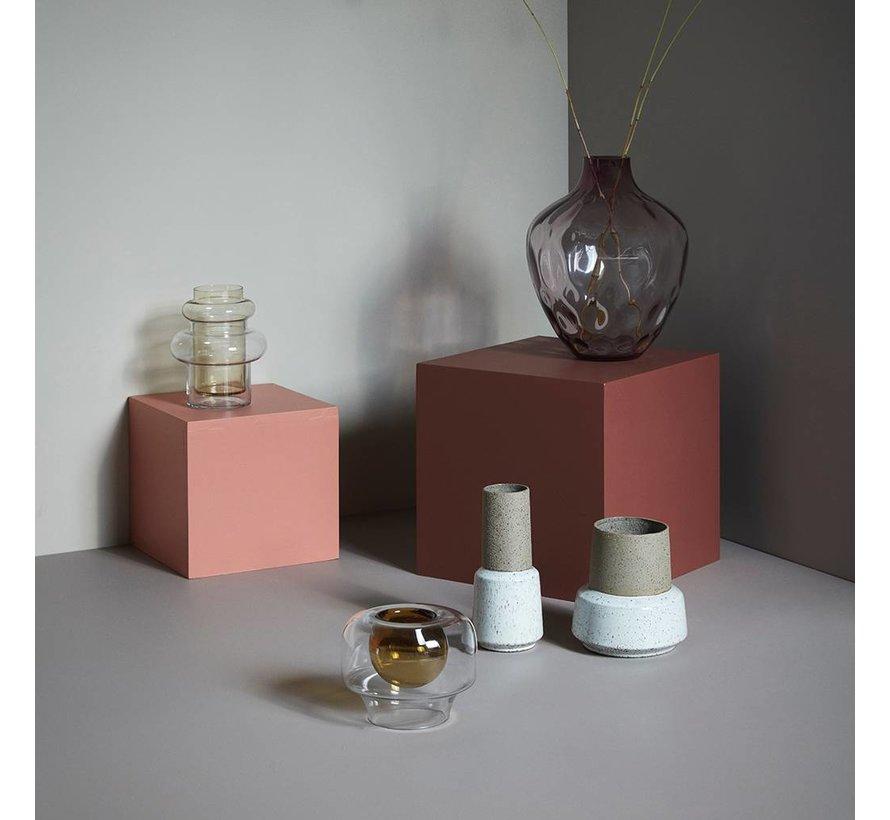 vaas, glas, roze, reliëf, ø28 x 37 cm