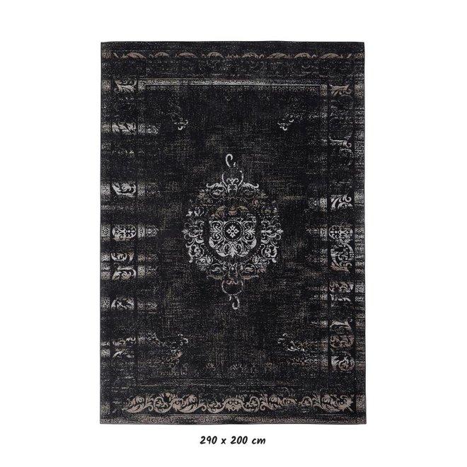 Vloerkleed Grand - Donkergrijs/zwart katoen - Jacquard geweven