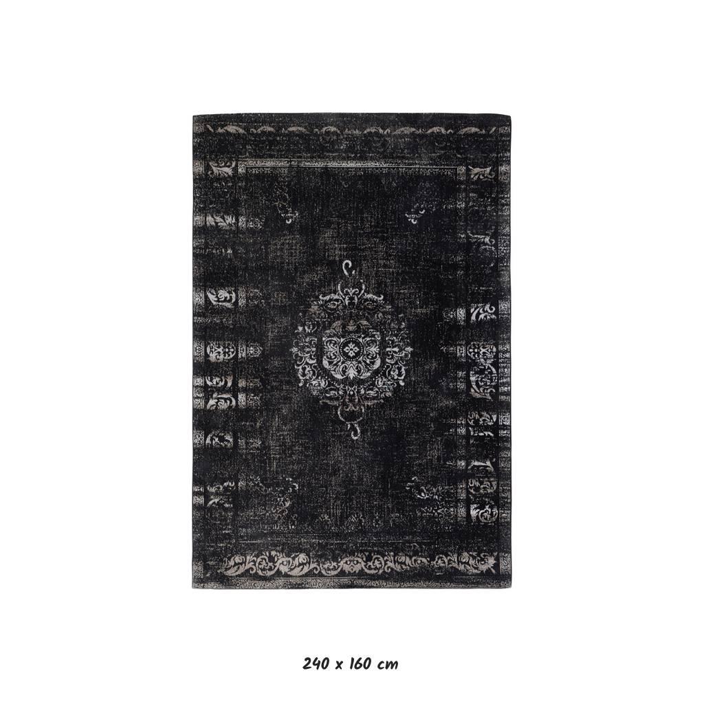 62f774316f6fbd Shop Vloerkleed Grand - Donkergrijs zwart katoen - Jacquard geweven ...