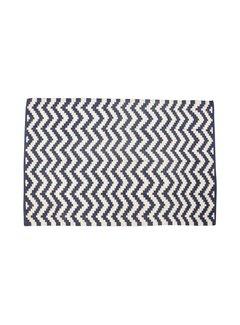 Hubsch vloerkleed visgraat patroon blauw/wit - 120 x 180 cm