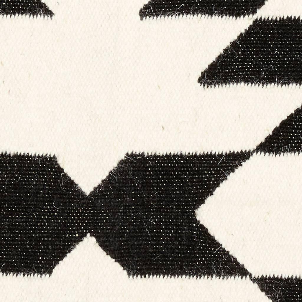 Hubsch Vloerkleed Geweven Patroon -  zwart/wit wol - 180 x 120 cm-810302-5712772057513