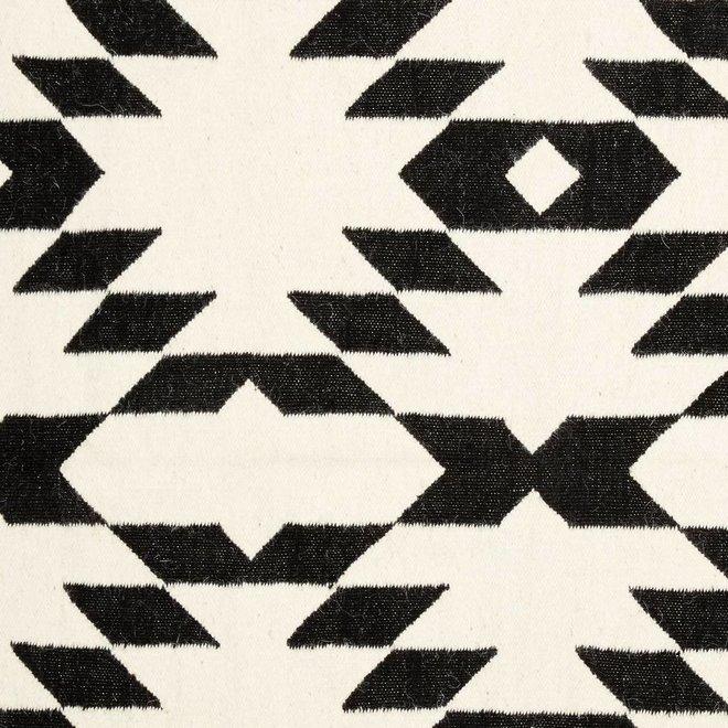 Vloerkleed Geweven Patroon -  zwart/wit wol - 180 x 120 cm