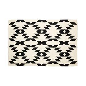 Hubsch Vloerkleed Geweven Patroon -  zwart/wit wol - 180 x 120 cm