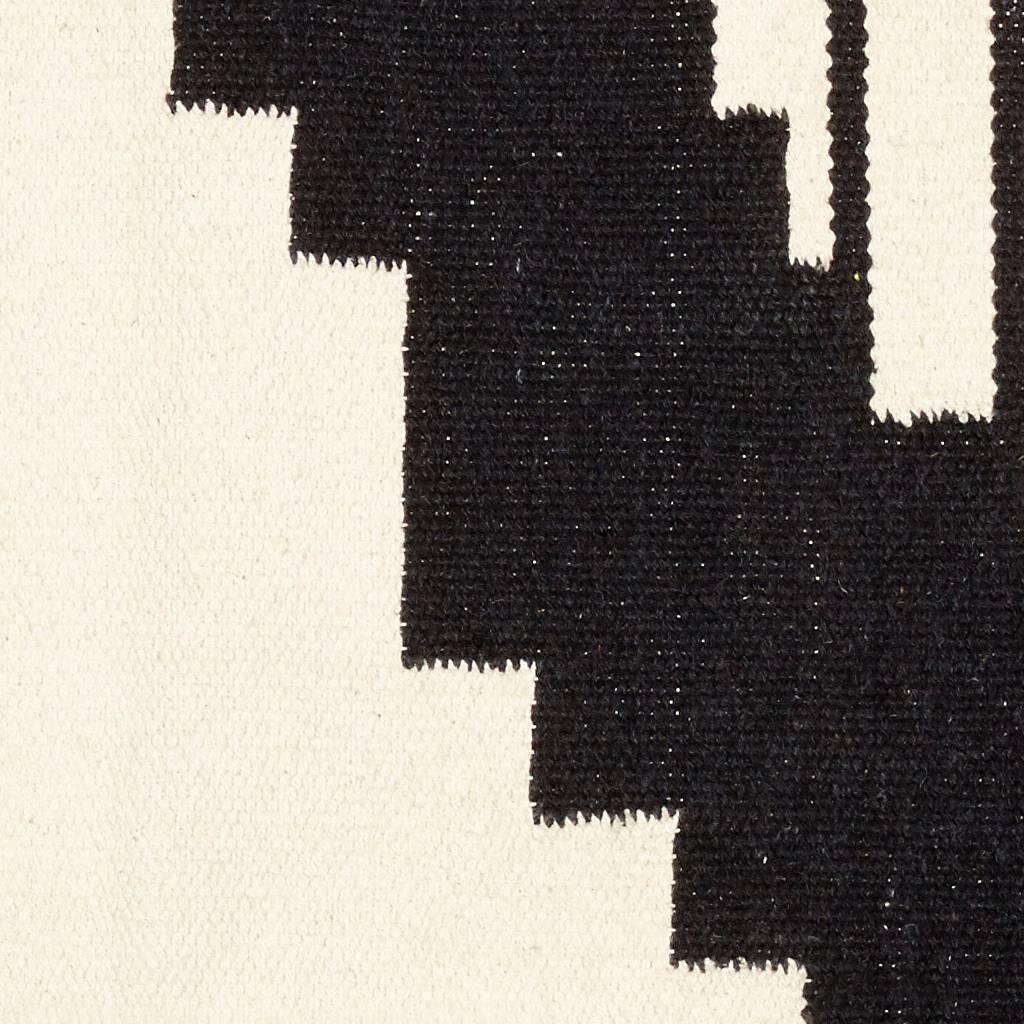 Hubsch Vloerkleed Geweven Patroon -Zwart/naturel katoen - 180 x 120 cm-810303-5712772057520