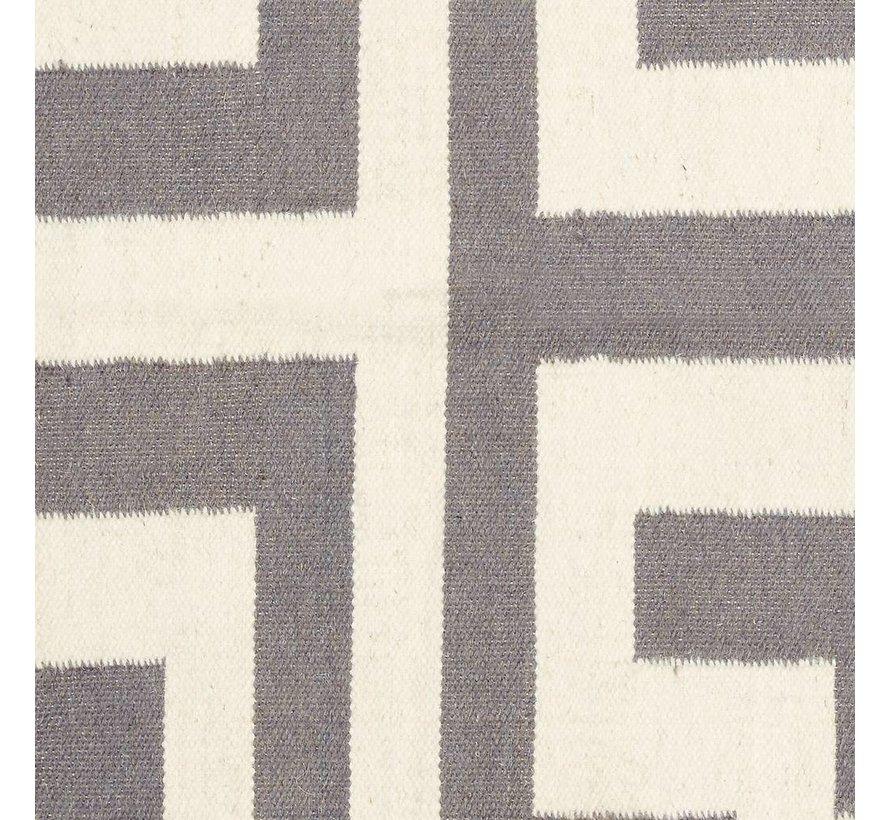 Vloerkleed Maze - Grijs/Naturel katoen - 180 x 120 cm