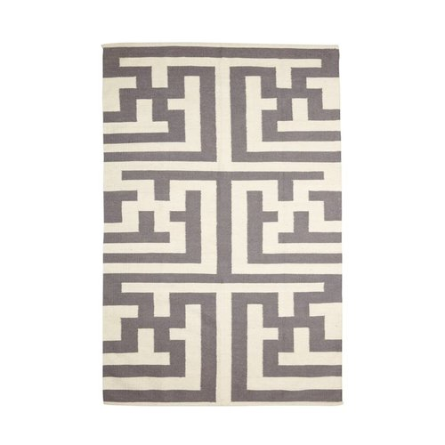 Hubsch Vloerkleed Maze - Grijs/Naturel katoen - 180 x 120 cm