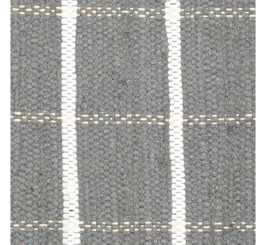 Tapijt Blok Patroon - Grijs/Wit katoen - 120 x 60 cm