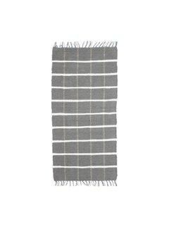 Hubsch Tapijt Blok Patroon - Grijs/Wit katoen - 120 x 60 cm