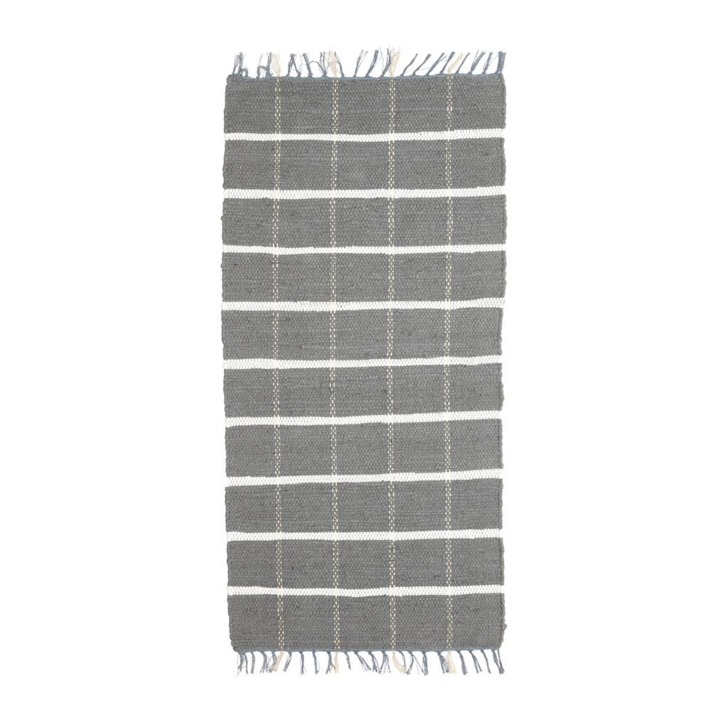 Hubsch Tapijt Blok Patroon - Grijs/Wit katoen - 120 x 60 cm-810304-