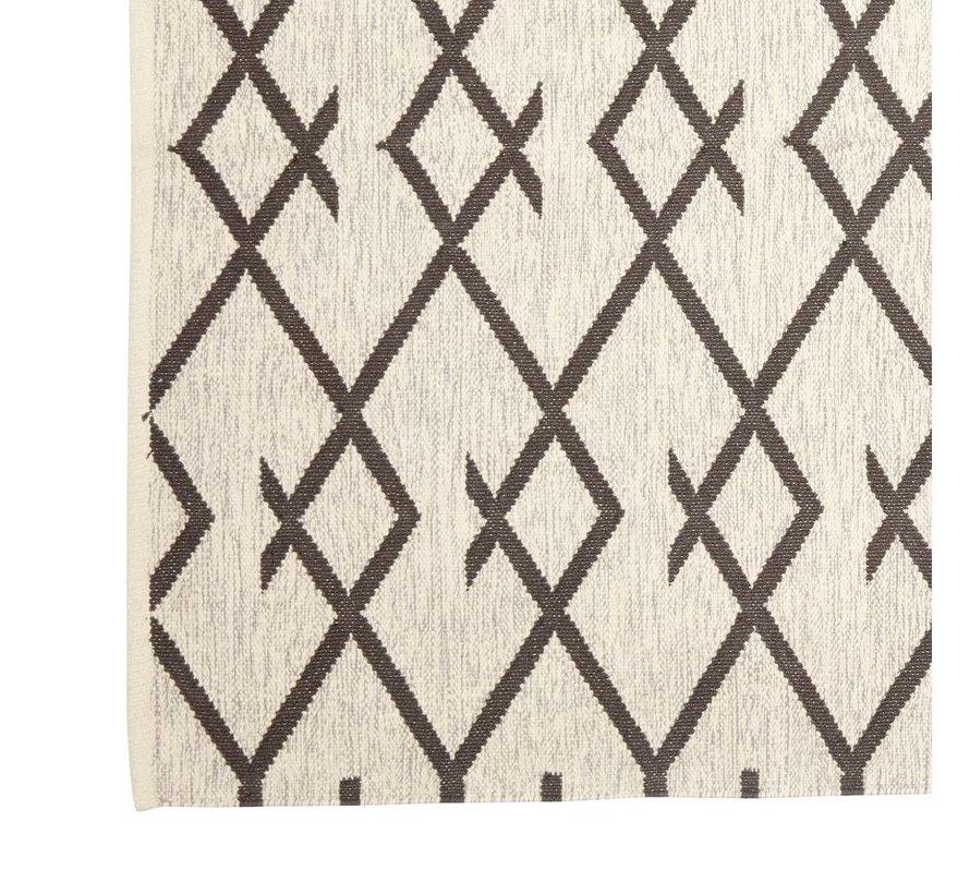 Tapijt Patroon - Grijs/Wit katoen - 180 x 120 cm