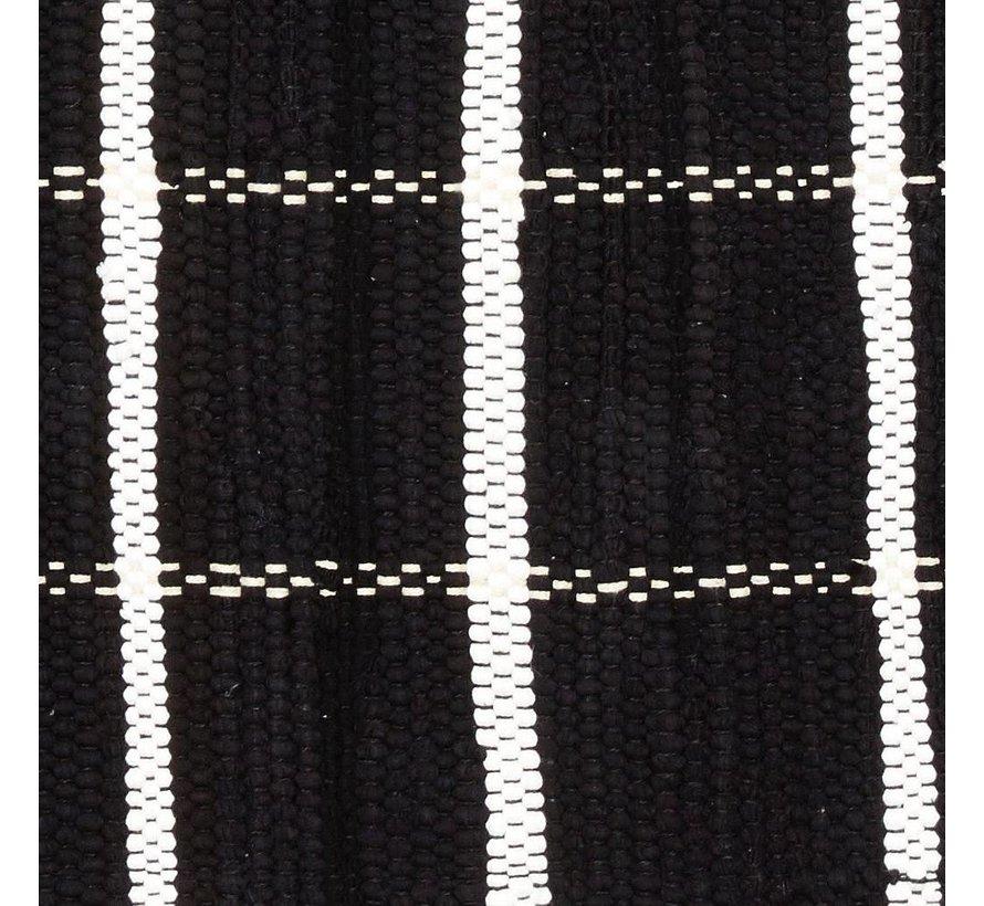 Tapijt Blok Patroon - Zwart/Wit katoen - 120 x 60 cm