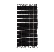 Hubsch Tapijt Blok Patroon - Zwart/Wit katoen - 120 x 60 cm