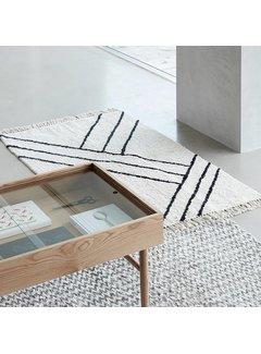 Hubsch Vloerkleed Stripes - Naturel/zwart katoen - 180 x 96 cm. Hubsch 75479975