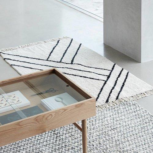 Hubsch Vloerkleed Stripes - Naturel/zwart katoen - 180 x 96 cm
