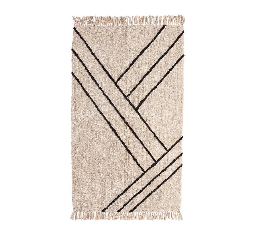 Vloerkleed Stripes - Naturel/zwart katoen - 180 x 96 cm