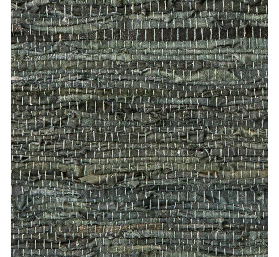 Vloerkleed Pine Green - Groen leder, katoen