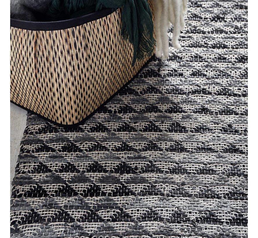 Vloerkleed Triangle - Grijs/Zwart leder