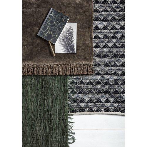 Nordal Vloerkleed Pine Green - Groen leder, katoen