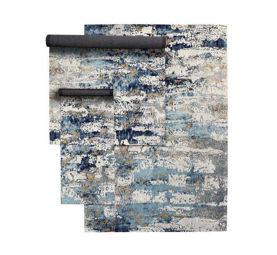 Tapijt Breeze - Blauw/Roomwit katoen