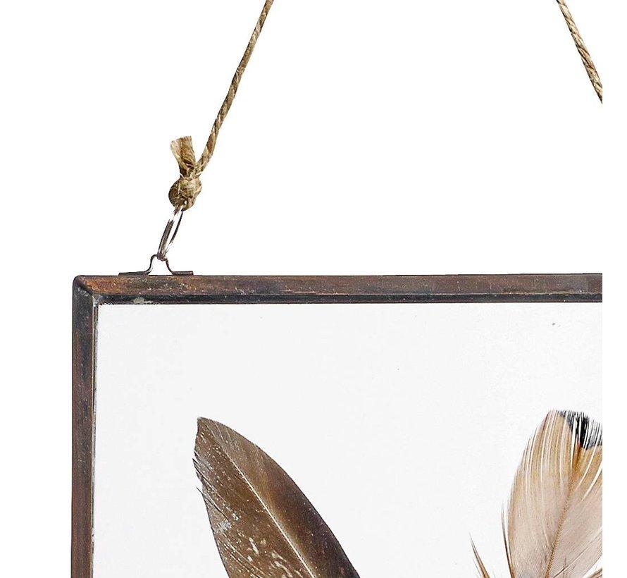 fotolijst hangend - koper, glas - 18 x 13 cm